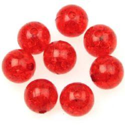Мънисто кракъл топче 10 мм дупка 2 мм червено -20 грама ~35 броя