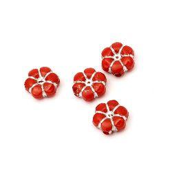 Мънисто сребърна нишка цвете 10x5 мм дупка 1.5 мм червено -50 грама ~150 броя