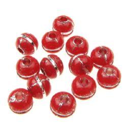 Мънисто сребърна нишка топче 7x9 мм дупка 2.3 мм червено - 50 грама ~ 130 броя