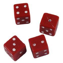 Мънисто зар 10x10 мм дупка 1.5 мм червено с бяло -50 грама ~ 50 броя