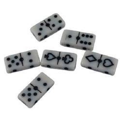 Margele domino 20x10x5 mm gaura 2 mm alb cu negru -50 grame ~ 51 buc