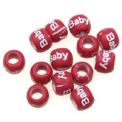 Two-color washer bead with lettering baby 9x7 mm hole 5 mm red and white - 20 grams ~ 60 pieces