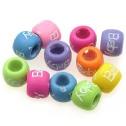 Two-color washer bead with lettering baby 9x7 mm hole 5 mm mix - 20 grams ~ 60 pieces
