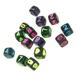 Two-color cube bead with figures 6x6 mm hole 3 mm MIX - 20 grams ~117 pieces