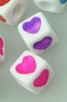 Мънисто двуцветно куб със сърца 7x7 мм дупка 4 мм микс -20 грама ~89 броя