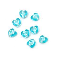 Мънисто сърце 7x4.5 мм дупка 1 мм синьо с бяло -50 грама ~460 броя