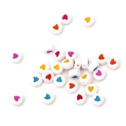 Two-colored circle bead with heart 7x3.5 mm hole 1 mm MIX - 20 grams ~150 pieces