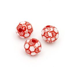 Two-color bead soccer ball 10mm hole 2mm white and red - 50 grams ±92 pieces