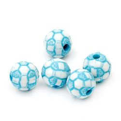 Two-color bead soccer ball 10mm hole 2mm white and blue - 50 grams ~92 pieces