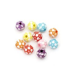 Two-color bead soccer ball 10 mm hole 2 mm MIX - 50 grams ~92 pieces
