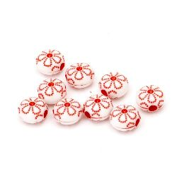 Two-colored circle bead  with flower 10x7 mm hole 2.5 mm white and red - 50 grams ~140 pieces