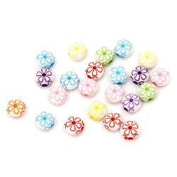 Two-colored circle bead  with flower 10x7 mm hole 2.5 mm mix - 50 grams ~140 pieces