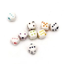 Bead two-color dice 10x10 mm hole 1 mm mix - 50 grams ~90 pieces