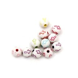 Two-color bead ball with cross 8 mm hole 1.5 mm color - 50 grams ~ 180 pieces