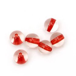 Margele  bilă de bază roșie 8 mm gaură 1 mm transparent -50 grame ~ 170 bucăți
