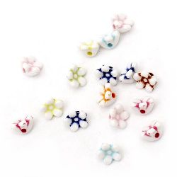 Two-color flower bead button 10x7mm Hole 2mm Mix - 50g ~ 190pcs