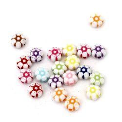 Мънисто двуцветно цвете 7x4 мм дупка 1 мм микс -50 грама ~ 380 броя