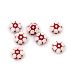 Мънисто двуцветно цвете 7x4 мм дупка 1 мм бяло и червено -50 грама ~ 380 броя