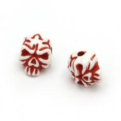 Мънисто двуцветно череп 12x9x9 мм дупка 2 мм цвят бял и червен -50 грама ±100 броя