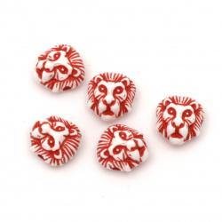 Мънисто двуцветно лъвска глава 12x11x8 мм дупка 2 мм цвят бял и червен -50 грама ±100 броя