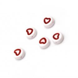 Мънисто двуцветно кръг със сърце 7.5x4 мм дупка 1 мм цвят бял и червен -20 грама ±140 броя
