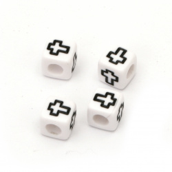 Мънисто двуцветно куб с кръст 6x6 мм дупка 3 мм цвят бял и черен -20 грама ±100 броя