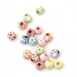 Мънисто прано топче с цвете 7.5x7 дупка 2.5 мм МИКС -50 грама ±260 броя
