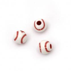 Мънисто двуцветно топче тенис 12 мм дупка 3.5 мм цвят бял и червен -50 грама ±65 броя