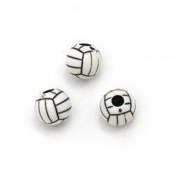 Мънисо двуцветно топче волейбол 12 мм дупка 3.5 мм цвят бял и черен 50 грама ±65 броя