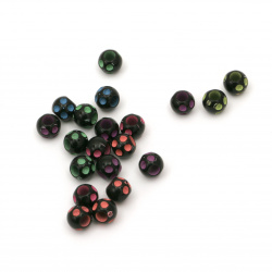 Мънисто двуцветно топче 6x5 мм дупка 3 мм цвят черен -20 грама ±200 броя