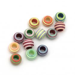 Мънисто двуцветно топче релеф 10x8 мм дупка 5 мм МИКС -20 грама ±62 броя