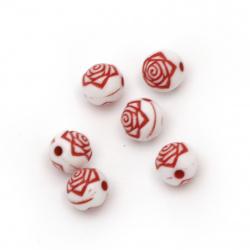 Мънисто двуцветно тотче с роза 8 мм дупка 1 мм бяло и червено -50 грама ~190 броя