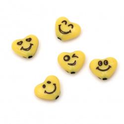 Мънисто двуцветно сърце усмивка 14x11x6 мм дупка 2 мм цвят жълт -50 грама ~85 броя