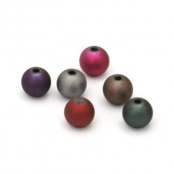 Мънисто топче 10 мм дупка 2 мм спрей цвят МИКС -20 грама ~35 броя
