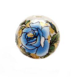 Мънисто рисувано 12 мм дупка 2 мм роза синя със златна нишка -1 брой