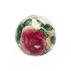 Мънисто рисувано роза 12 мм дупка 2 мм със златна нишка -1 брой