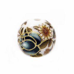 Мънисто рисувано 12 мм дупка 2 мм роза синя тъмна със златна нишка -1 брой