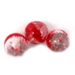 Margele pictate culoare roșu 2 mm -3 bucăți -14 grame