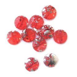 Margele pictate culoare roșu pulverizate 21 mm -11 bucăți -15 grame