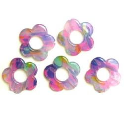 Πλαστικές χάντρες ζωγραφιστές μίξ χρώμα 15 3 mm -4 τεμάχια -11 γραμμάρια