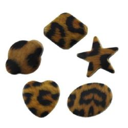 Plastic Painted Beads 18~40x15~29x4~10 hole 2~3mm ASSORTED, tiger pattern - 20 grams
