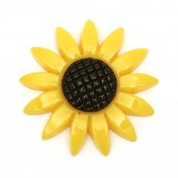 Cabochon gluing bead 45x45 mm sunflower - 2 pieces