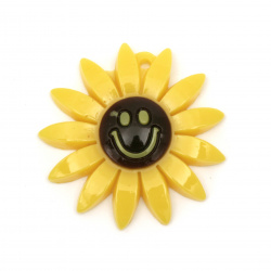 Acrylic solid pendant for jewelry making, flower with a smile 45x45 mm - 2 pieces