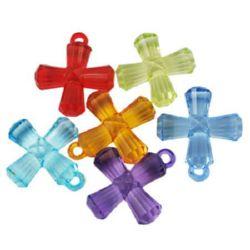 Κρεμαστό απομίμηση κρύσταλλο σταυρός 31x26x9 mm τρύπα 3 mm MIX - 50 γραμμάρια
