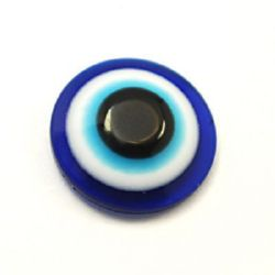 Acrylic Evil Eye Beads, Flat Round 8x4 mm for gluing -50 pieces