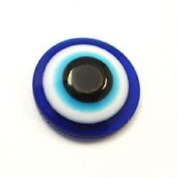 Polusferă albastru cu desen  ochi 8x4 mm pentru lipit -50 bucăți