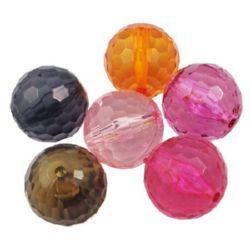 Χάντρα απομίμηση κρύσταλλο σφαίρα 20mm τρύπα 2mm MIX -50 γραμμάρια ~ 11 τεμάχια