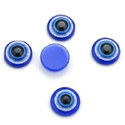 Emisferă albastru cu desen ochi 10x4 mm pentru lipit cu brocat -20 bucăți