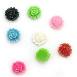Colorful flower bead cabochon gluing 15 mm