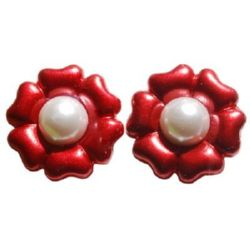 Flower type cabochon 25x9 red - 10 pieces